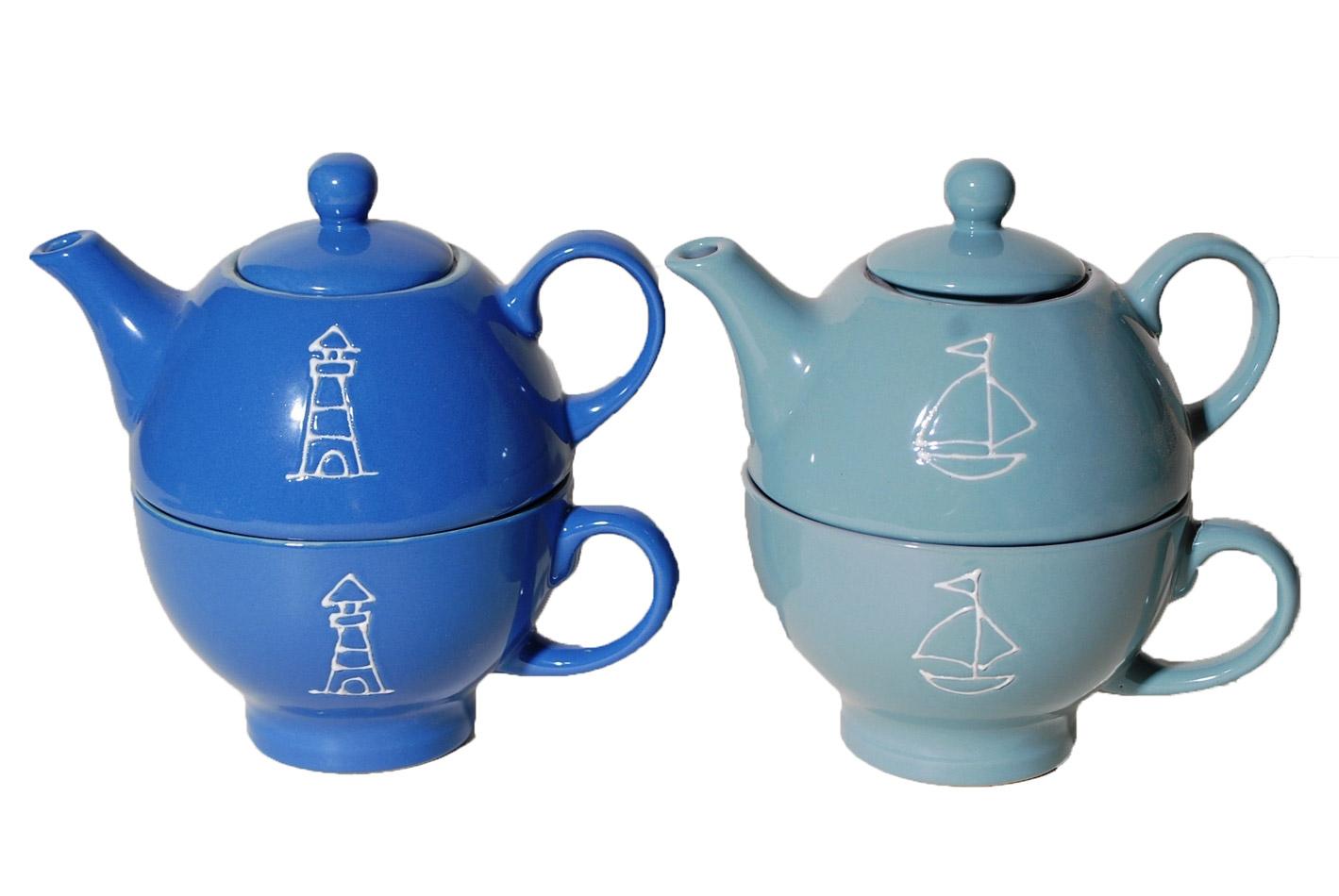 Σετ 2τμχ Τσαγιερό Με Φλυτζάνι Κεραμικό Royal Art 400ml VOB35140C/D (Υλικό: Κεραμικό, Χρώμα: Μπλε) – Royal Art Collection – VOB35140C/D