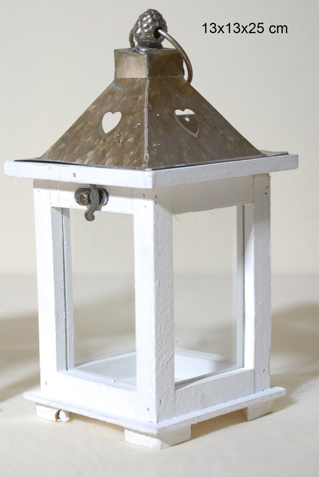 Φανάρι Ξύλινο-Μεταλλικό Royal Art 13x13x25εκ. STA54995WT (Υλικό: Ξύλο, Χρώμα: Λευκό) – Royal Art Collection – STA54995WT