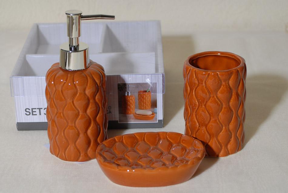 Σετ Μπάνιου 3τμχ Κεραμικό Royal Art STA60014OR (Υλικό: Κεραμικό, Χρώμα: Πορτοκαλί) – Royal Art Collection – STA60014OR