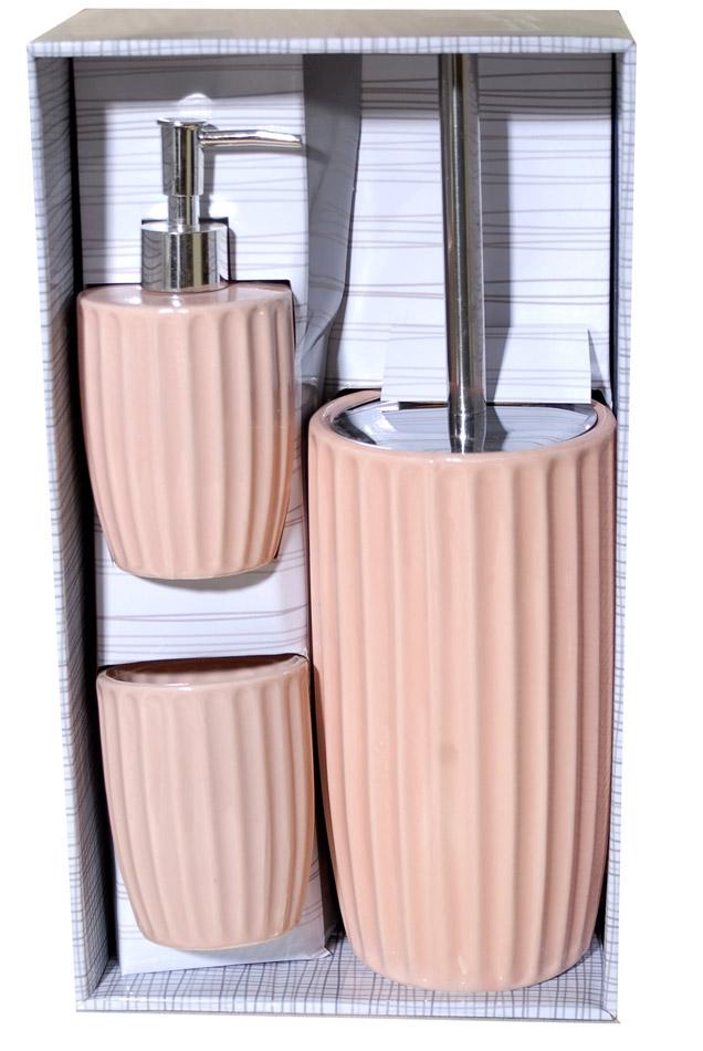 Σετ Μπάνιου 3τμχ Κεραμικό Royal Art STA60945P (Υλικό: Κεραμικό, Χρώμα: Ροζ) – Royal Art Collection – STA60945P