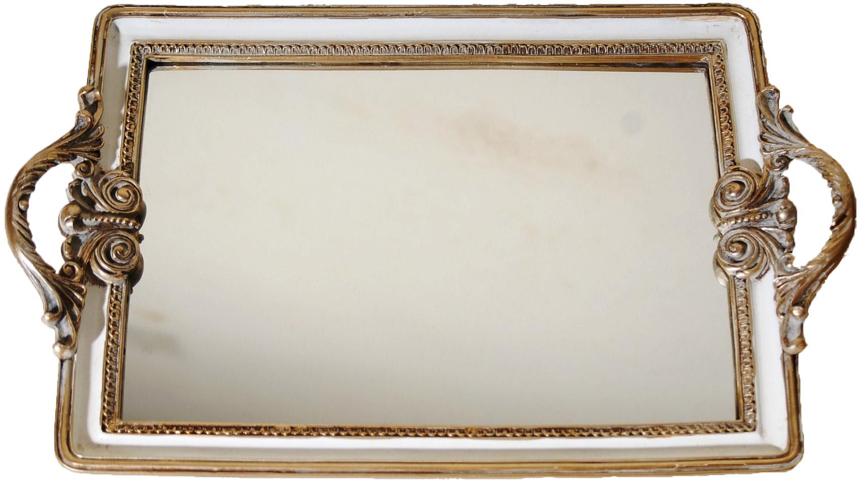 Δίσκος Σερβιρίσματος Με Καθρέπτη Πολυεστερικός Royal Art 39×35εκ. YUA4/002CR (Χρώμα: Λευκό, Υλικό: Πολυεστερικό) – Royal Art Collection – YUA4/002CR