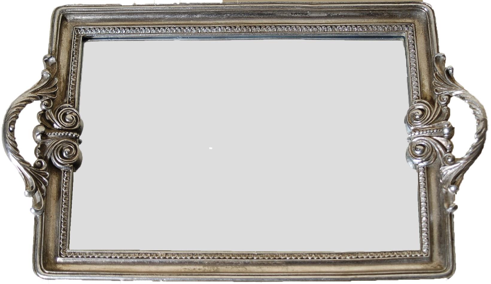 Δίσκος Σερβιρίσματος Με Καθρέπτη Πολυεστερικός Royal Art 40×35εκ. YUA4/002SL (Χρώμα: Ασημί , Υλικό: Πολυεστερικό) – Royal Art Collection – YUA4/002SL