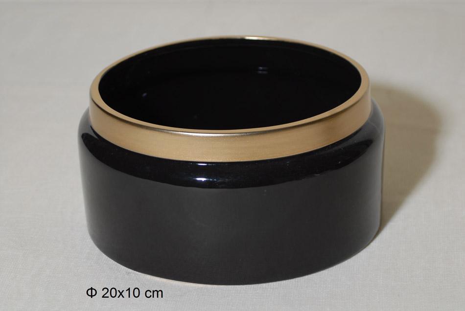 Διακοσμητικό Μπωλ Κεραμικό Μαύρο-Χρυσό 20×10εκ. Royal Art STA60104BK (Υλικό: Κεραμικό, Χρώμα: Μαύρο) – Royal Art Collection – STA60104BK