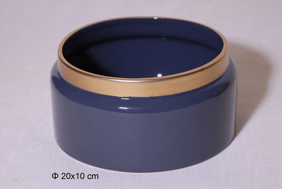 Διακοσμητικό Μπωλ Κεραμικό Μπλε-Χρυσό 20×10εκ. Royal Art STA60104GRE (Υλικό: Κεραμικό, Χρώμα: Μπλε) – Royal Art Collection – STA60104GRE