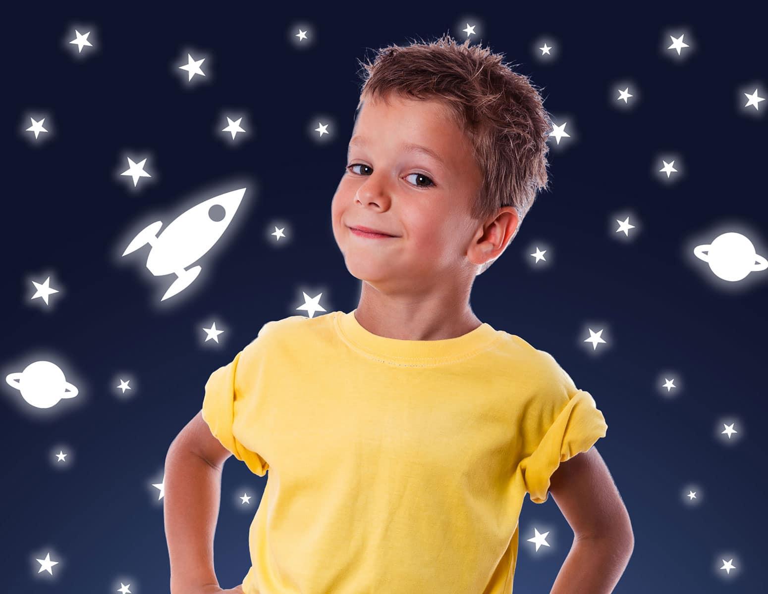 Αυτοκόλλητο Τοίχου Φωσφοριζέ Rocket & Stars Ango 70×70εκ. 77226 – ango – ANGO_77226