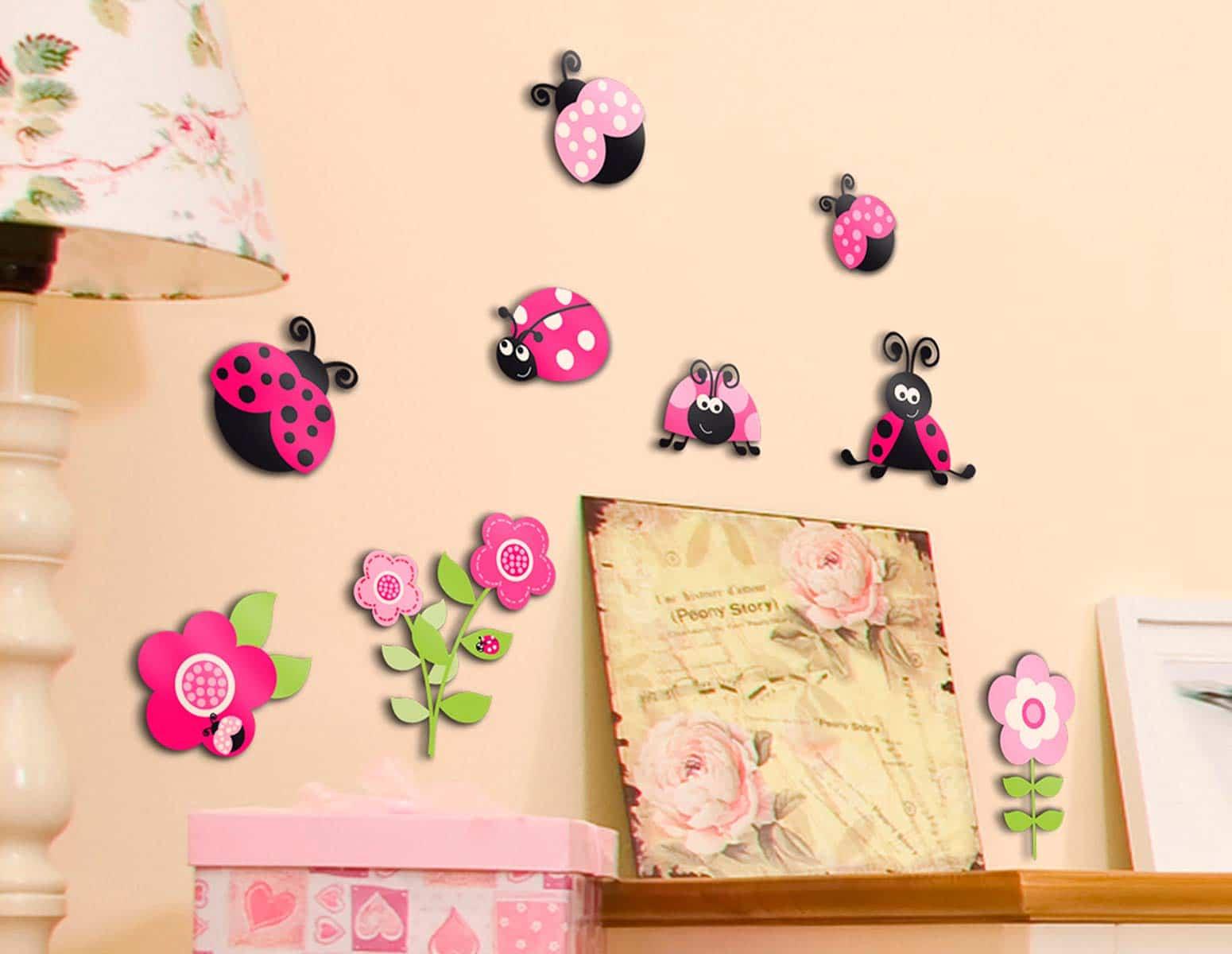 Αυτοκόλλητο Τοίχου Pink Ladybugs Ango 30×30εκ. 14506 – ango – ANGO_14506