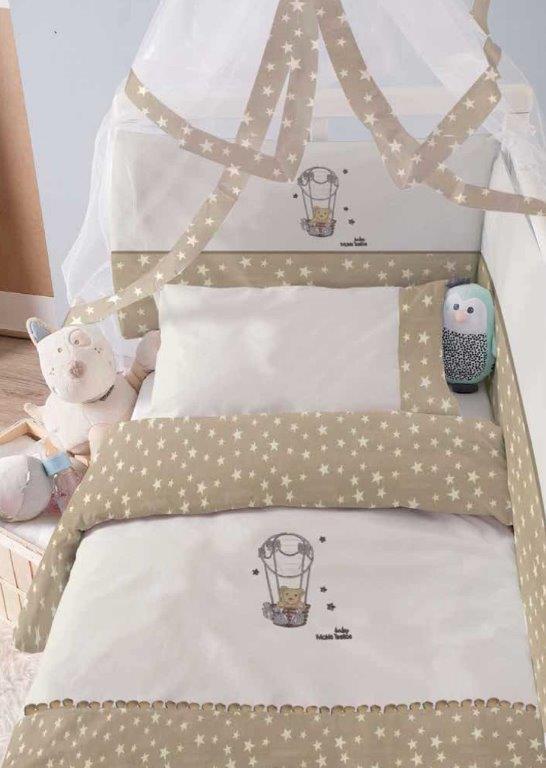 Σετ Κούνιας 6τμχ Baby Βαμβακερά Benny Makis Tselios (Ύφασμα: Βαμβάκι 100%, Χρώμα: Καφέ) – Makis Tselios – 116480123456