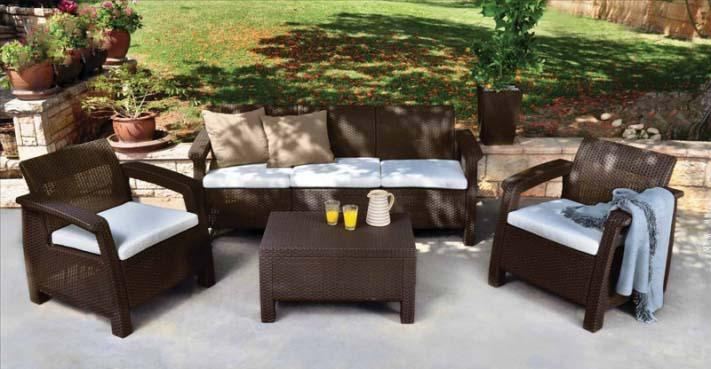 Σετ Κήπου 4τμχ Wicker Corfu Triple Set Brown – keter – corfu-triple-set-brown