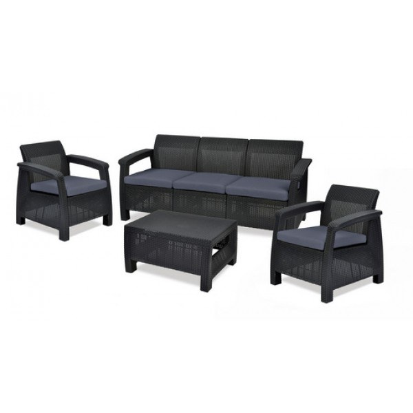 Σετ Κήπου 4τμχ Wicker Corfu Triple Set Graphite - keter - corfu-triple-set-graphite