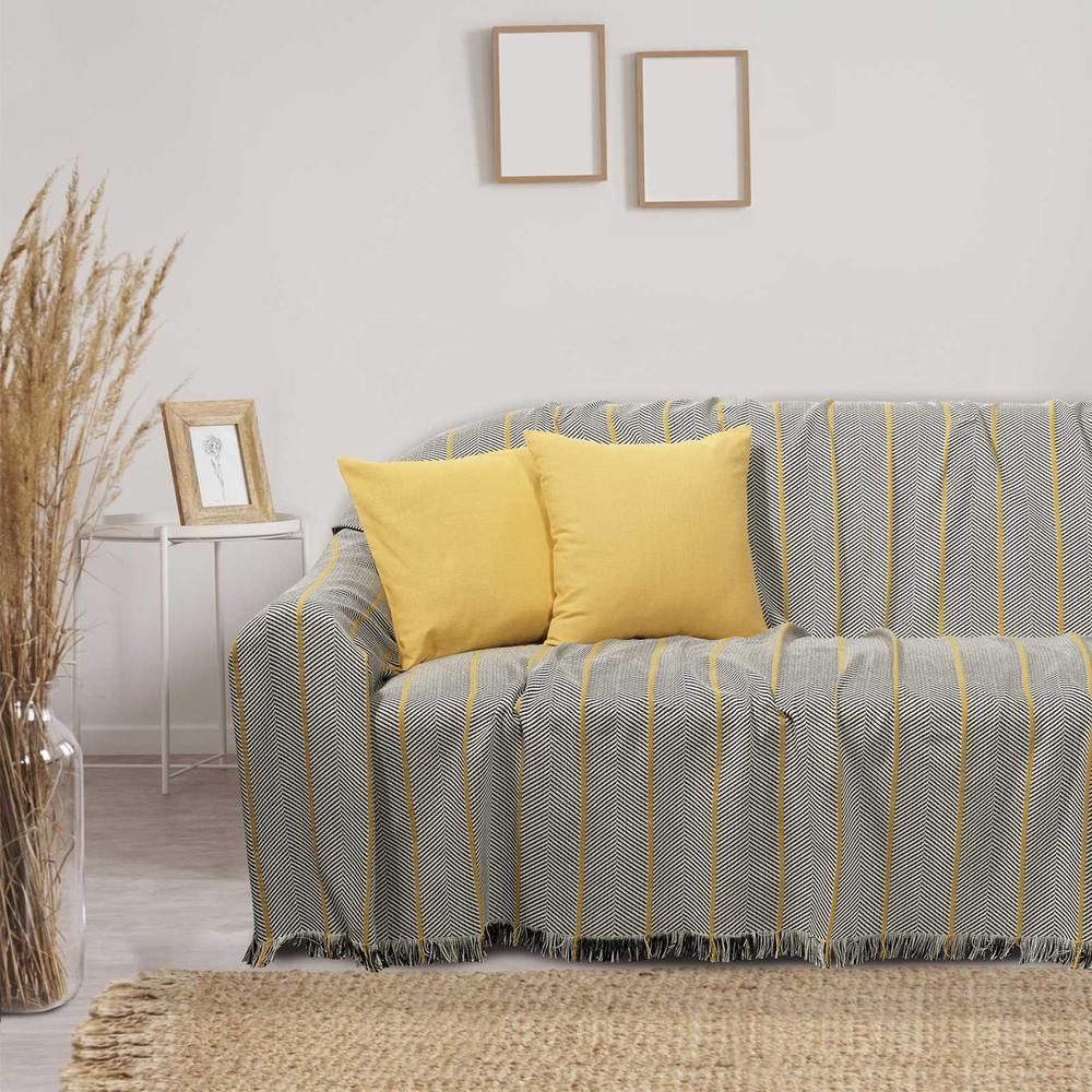 Ριχτάρι Polycotton Ζακάρ Διθέσιος 180×250εκ. Throws Line 0216 Das Home (Ύφασμα: 80% Cotton – 20% Polyester, Χρώμα: Μαύρο) – Das Home – 420618250216