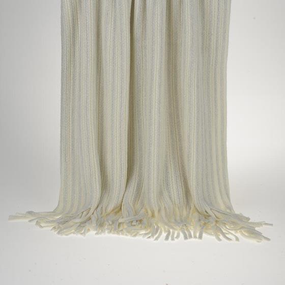 Ριχτάρι - Κουβέρτα Εκρού Πλεχτή Με Κρόσια - inart - 3-40-322-0008 λευκα ειδη σαλόνι ριχτάρια