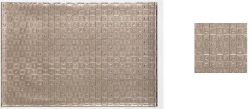 Σουβέρ Σετ 6τμχ Polyester ESPIEL 10×10εκ. HEN101 (Ύφασμα: Polyester, Χρώμα: Μπεζ) – ESPIEL – HEN101