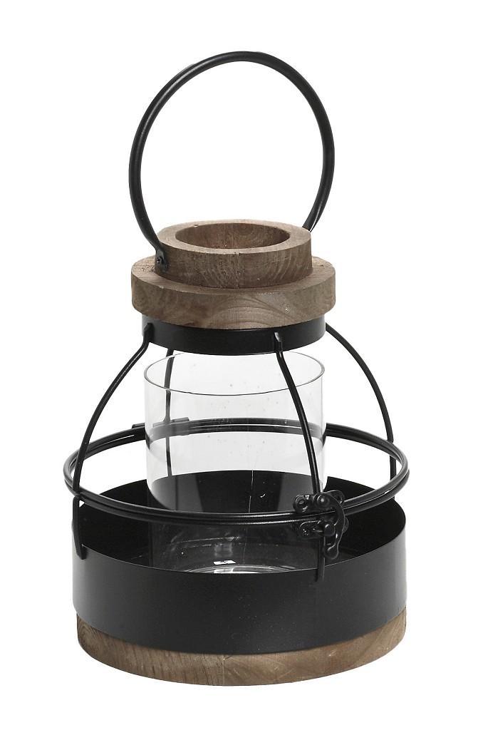 Φανάρι Ξύλινο-Μεταλλικό ESPIEL 17x20εκ. KIK215 (Υλικό: Ξύλο, Χρώμα: Μαύρο) - ESPIEL - KIK215