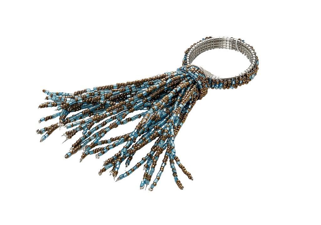 Δαχτυλίδι Πετσέτας Μεταλλικό Με Χάντρες Τυρκουάζ-Μπρονζέ ESPIEL 6×10εκ. YRA111K6 (Υλικό: Μεταλλικό, Χρώμα: Τυρκουάζ) – ESPIEL – YRA111K6