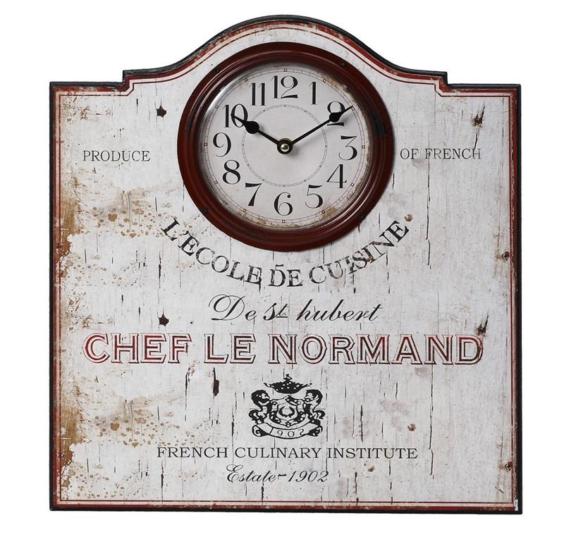 """Ρολόι Τοίχου Mdf """"Chef Le Normad """" ESPIEL 40x43εκ. LOG263 - ESPIEL - LOG263 διακοσμηση κουζίνα ρολόγια"""