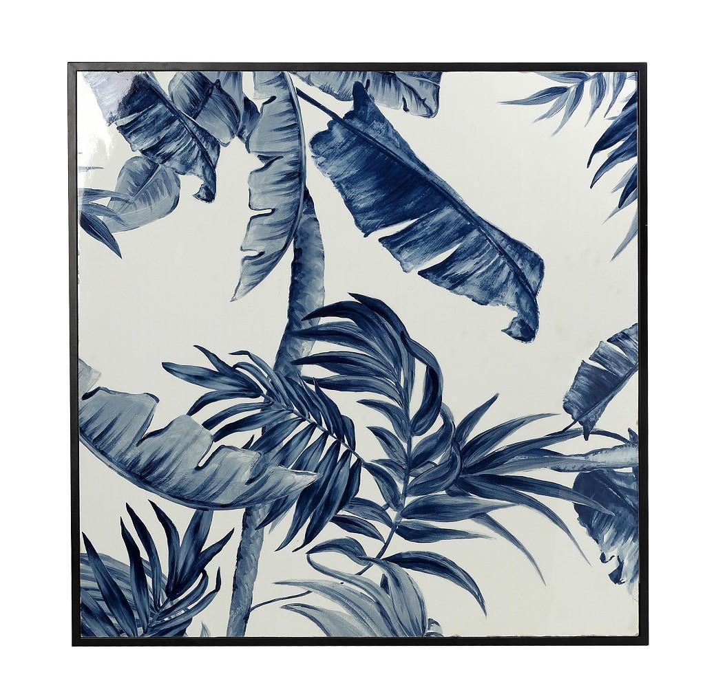 Πίνακας Μεταλλικός Μπλε Φύλλα ESPIEL 82,5x3x82,5εκ. ICY106 (Υλικό: Μεταλλικό, Χρώμα: Μπλε) - ESPIEL - ICY106