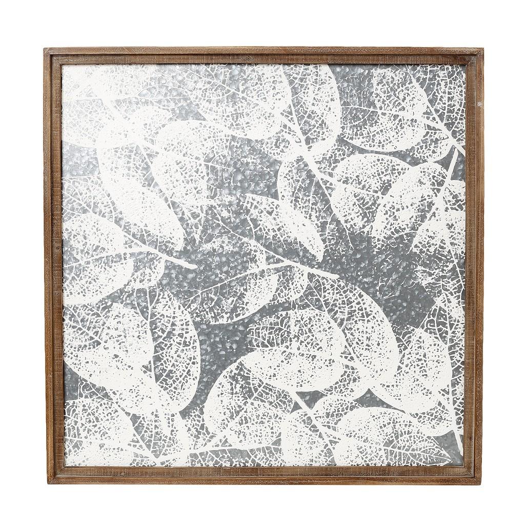 Πίνακας Ξύλινος Ασημί Φύλλα ESPIEL 71,5x3,5x71,5εκ. ICY132 (Υλικό: Ξύλο, Χρώμα: Ασημί ) - ESPIEL - ICY132