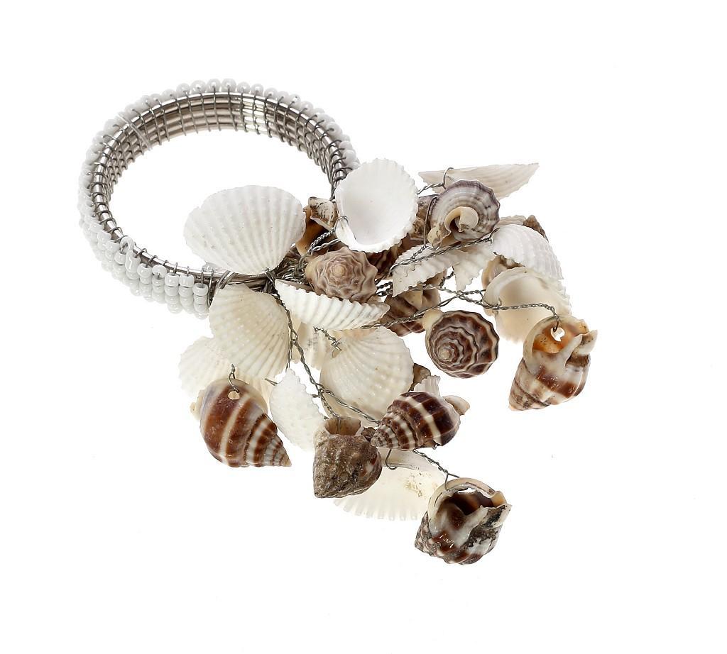 Δαχτυλίδι Πετσέτας Μεταλλικό Με Κοχύλια Λευκό-Μπεζ ESPIEL 6,45×6,43εκ. YRA213K6 (Υλικό: Μεταλλικό, Χρώμα: Λευκό) – ESPIEL – YRA213K6
