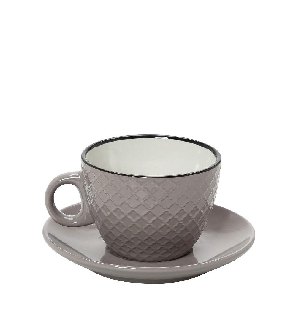 Φλυτζάνι Με Πιατάκι Espresso Stoneware 100ml Γκρι-Κρεμ Cookie Delight ESPIEL HUN412K6 (Χρώμα: Γκρι, Υλικό: Stoneware) - ESPIEL - HUN412K6
