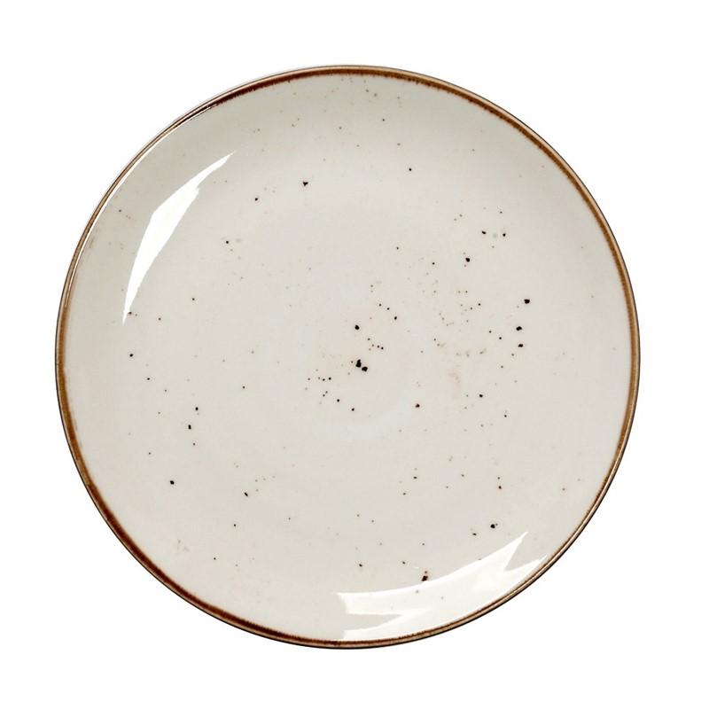 Πιάτο Ρηχό Πορσελάνης Terra Cream ESPIEL 24,5εκ. TLK102K6 (Υλικό: Πορσελάνη, Χρώμα: Κρεμ) - ESPIEL - TLK102K6