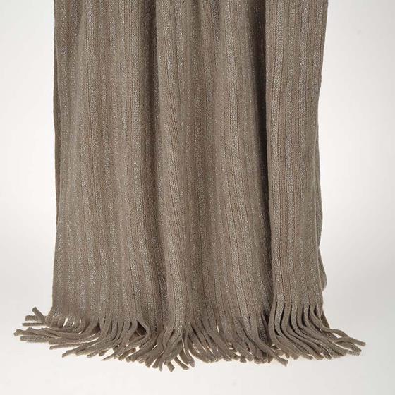 Ριχτάρι - Κουβέρτα Καφέ Πλεχτή Με Κρόσια - inart - 3-40-322-0009-1 λευκα ειδη σαλόνι ριχτάρια