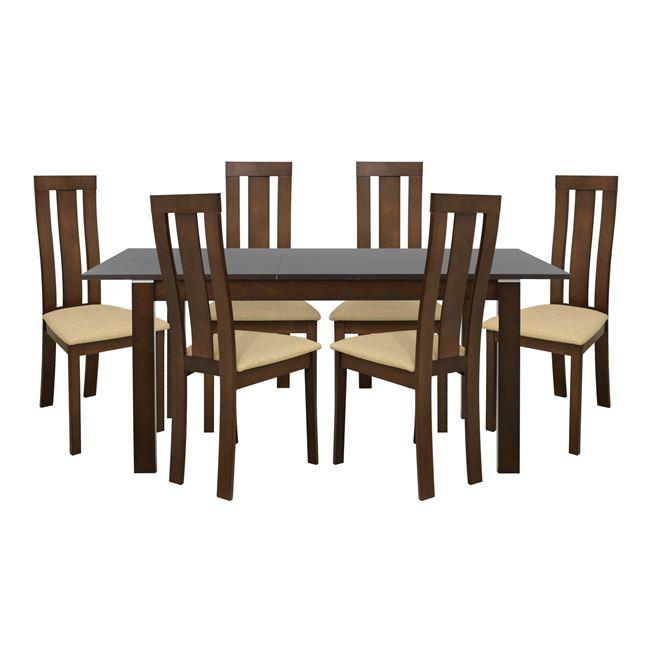Σετ Τραπεζαρία 7τμχ Με Ξύλινο Ανοιγόμενο Τραπέζι Και 6 Καρέκλες Καρυδί-Μπεζ 120+(30)x80x75εκ. FB910054 (Υλικό: Ξύλο, Χρώμα: Μπεζ) – Freebox – FB910054