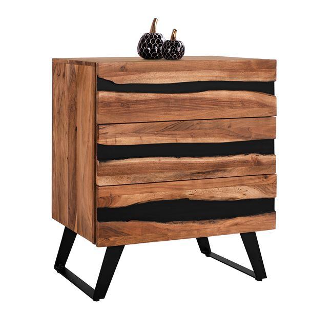 Συρταριέρα Μεταλλική-Ξύλινη Από Μασίφ Ξύλο Ακακίας Μαύρο-Μπεζ 80x38x86,5Υεκ. Freebox FB98361 (Υλικό: Ξύλο, Χρώμα: Μαύρο) – Freebox – FB98361
