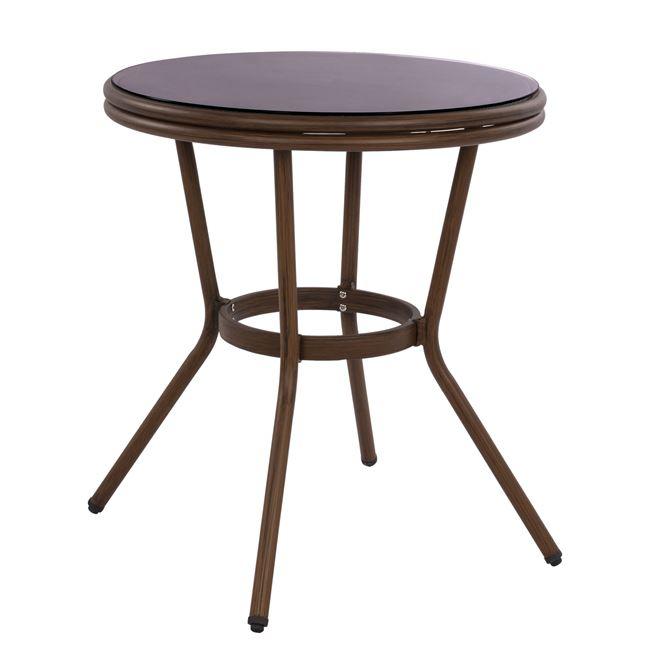 Τραπέζι Αλουμινίου Με Γυαλί Καφέ 70×76εκ. Freebox FB95532.03 (Υλικό: Γυαλί, Χρώμα: Καφέ) – Freebox – FB95532.03