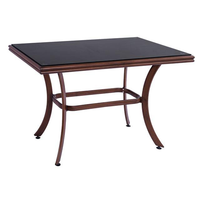 Τραπέζι Αλουμινίου Με Textline Και Γυαλί Καφέ 120x70x78Υεκ. Freebox FB95533.03 (Υλικό: Γυαλί, Χρώμα: Καφέ, Ύφασμα: Αδιάβροχο Textline) – Freebox – FB95533.03