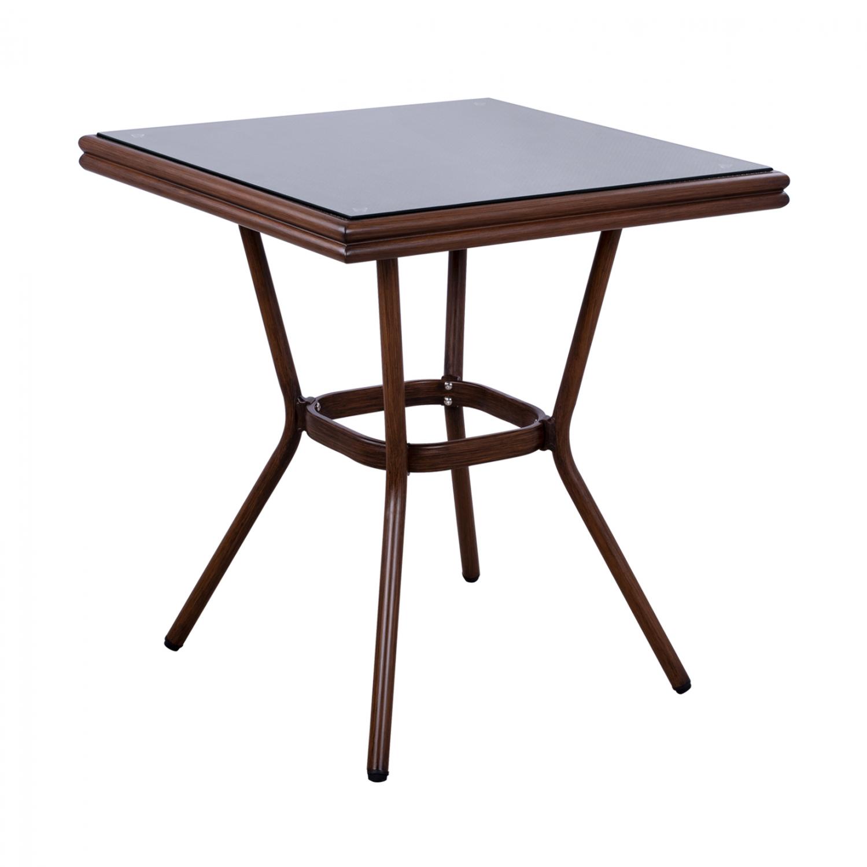 Τραπέζι Αλουμινίου Με Γυαλί Καφέ 70x70x76εκ. FB95568.03 (Υλικό: Γυαλί, Χρώμα: Καφέ) – Freebox – FB95568.03