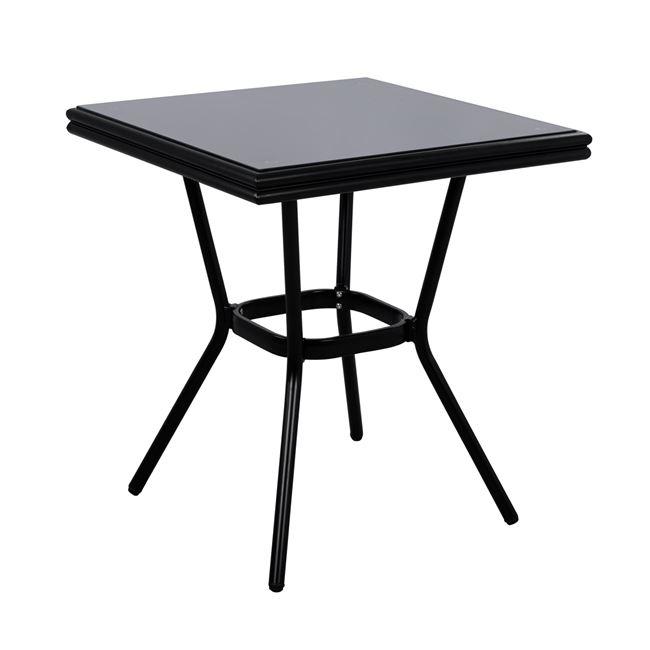 Τραπέζι Αλουμινίου Με Γυαλί Μαύρο 70x70x76εκ. Freebox FB95568.02 (Υλικό: Γυαλί, Χρώμα: Μαύρο) – Freebox – FB95568.02