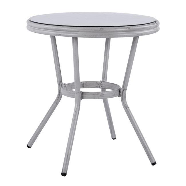 Τραπέζι Αλουμινίου Λευκό Πατίνα Με Γυαλί Φ70×76Υεκ Freebox FB95532.01 (Υλικό: Γυαλί, Χρώμα: Λευκό) – Freebox – FB95532.01