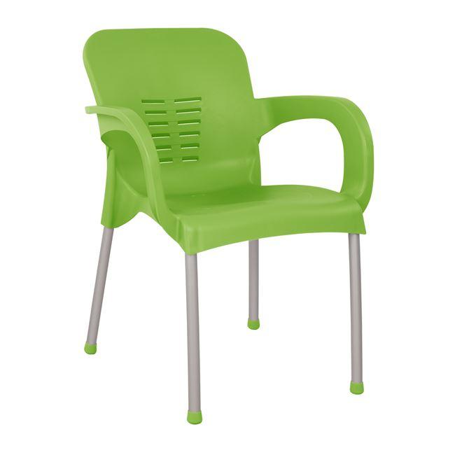 Πολυθρόνα Πολυπροπυλενίου Χρώμα Πράσινο Με Πόδι Αλουμινίου 59x58x81εκ. Freebox FB95592.07 (Υλικό: Αλουμίνιο, Χρώμα: Πράσινο ) - Freebox - FB95592.07