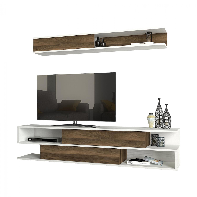 Σύνθεση Τηλεόρασης Μελαμίνης Καρυδί-Λευκό 176×31,5×39,6εκ. Freebox FB98903.01 (Υλικό: Μελαμίνη, Χρώμα: Λευκό) – Freebox – FB98903.01
