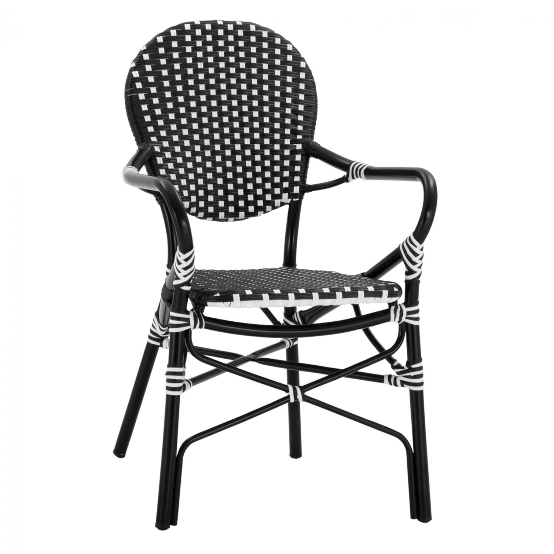 Πολυθρόνα Αλουμινίου Με Μαύρο-Λευκό Wicker 56x63x96Yεκ. Freebox FB95793.02 (Υλικό: Wicker, Χρώμα: Λευκό) – Freebox – FB95793.02
