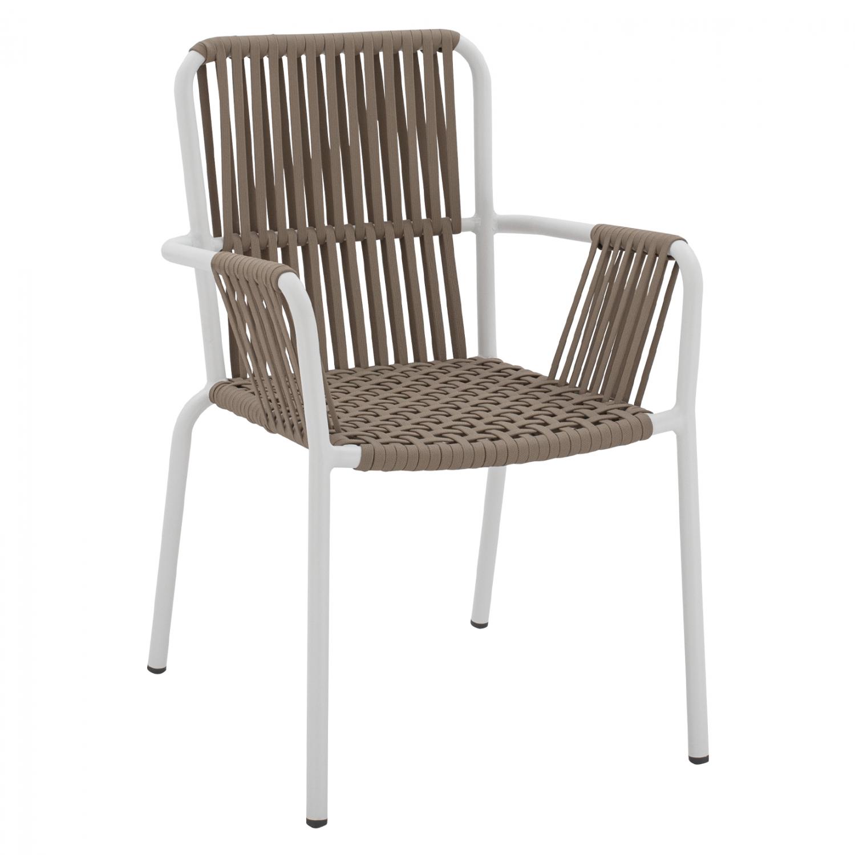 Πολυθρόνα Αλουμινίου Λευκή Με Πλατύ Σχοινί Cappuccino 56x58x85εκ. Freebox FB95784.01 (Υλικό: Αλουμίνιο, Χρώμα: Λευκό) – Freebox – FB95784.01