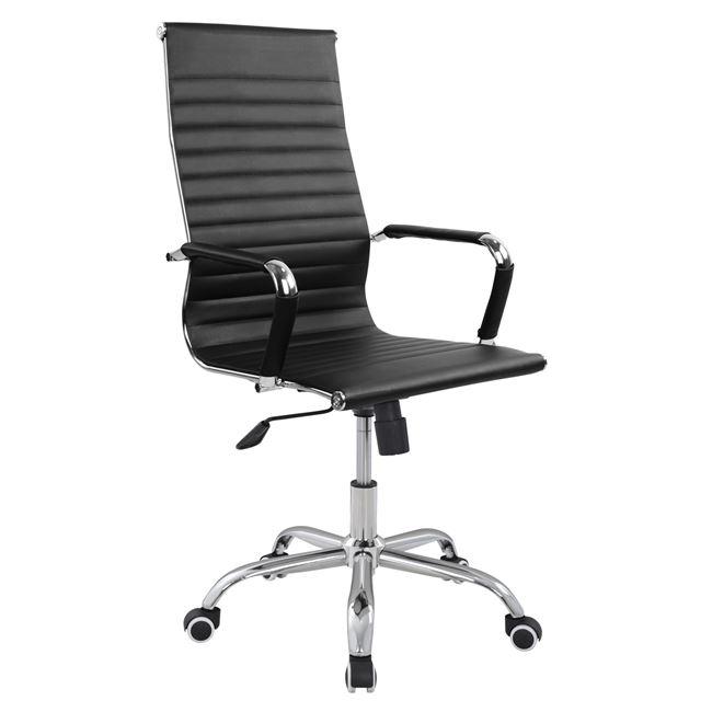 Καρέκλα Γραφείου Μαύρη Με Πόδια Χρωμίου 54x70x113,5εκ. Freebox FB91059.01 (Χρώμα: Μαύρο) - Freebox - FB91059.01
