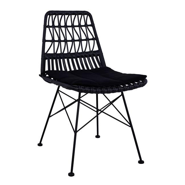 Καρέκλα Μεταλλική-Wicker Με Μαξιλάρι Μαύρη 48x60x83,5Υεκ Freebox FB95453 (Υλικό: Μεταλλικό, Χρώμα: Μαύρο) – Freebox – FB95453