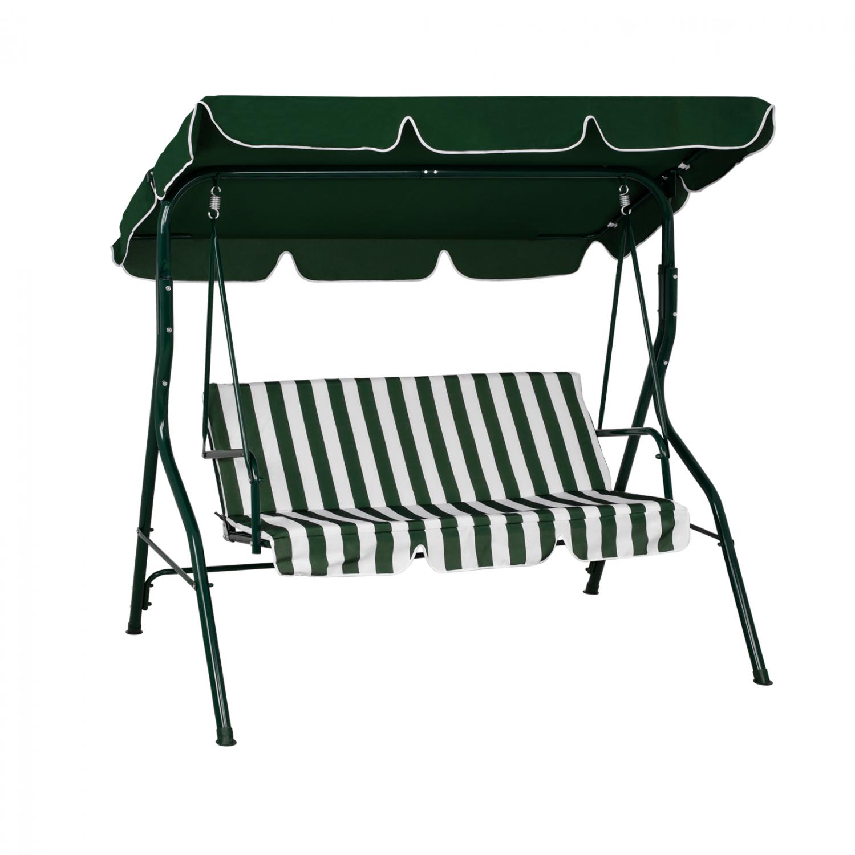 Κούνια Τριθέσια Μεταλλική Ριγέ Πράσινη-Λευκή 167x110x175εκ. Freebox FB95542 (Υλικό: Μεταλλικό, Χρώμα: Λευκό) - Freebox - FB95542