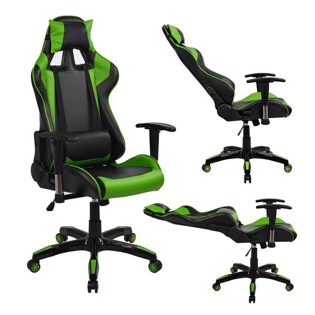Καρέκλα Γραφείου Gaming Pu Μαύρη-Πράσινη 67x70x134εκ. Freebox FB91056.03 (Υλικό: PU, Χρώμα: Μαύρο) - Freebox - FB91056.03