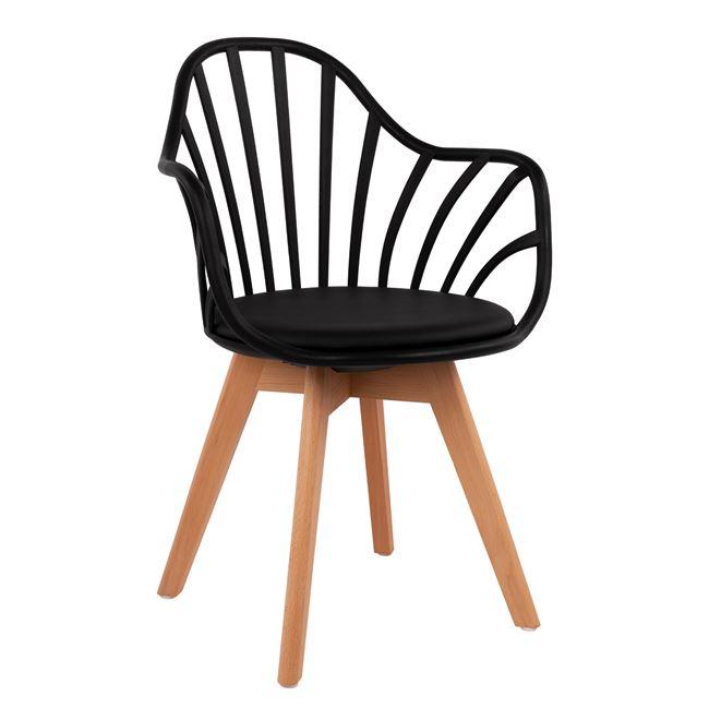 Καρέκλα Ξύλινη-Πολυπροπυλενίου Με Μαύρο Pu Κάθισμα 57x57x84Υεκ. Freebox FB98455.02 (Υλικό: Ξύλο, Χρώμα: Μαύρο) – Freebox – FB98455.02