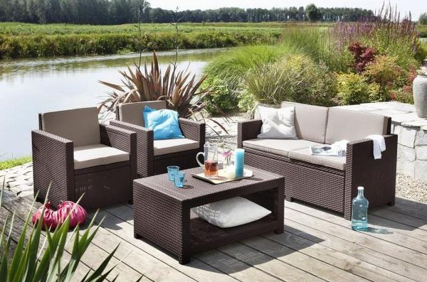 Σετ Κήπου 4τμχ Wicker Monaco Lounge Set Brown - Allibert - monaco-lounge-set-brown